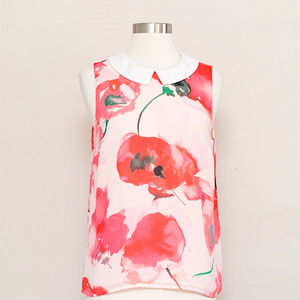 CeCe Sleeveless Floral Top S
